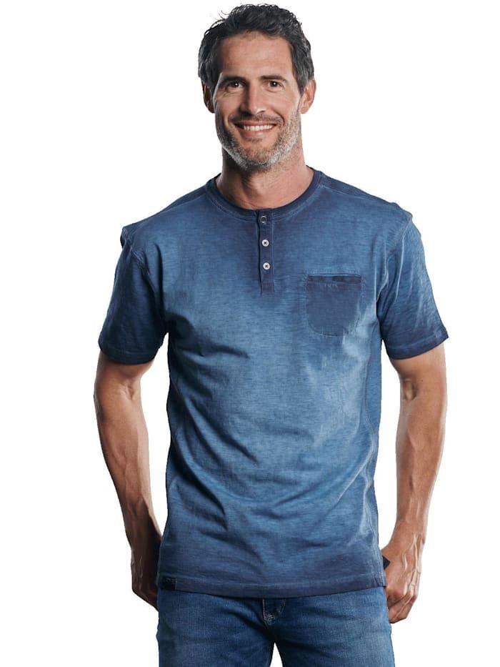 Engbers Lässiges Henley T-Shirt in außergewöhnlicher Optik, Marineblau