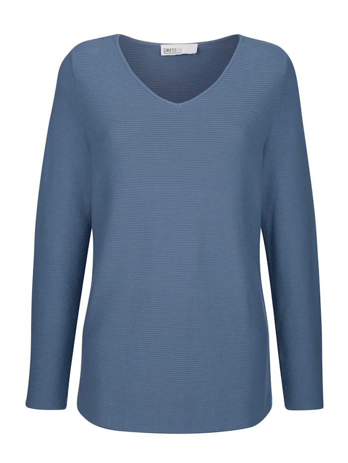 Dress In Pullover mit V-Ausschnitt, Rauchblau