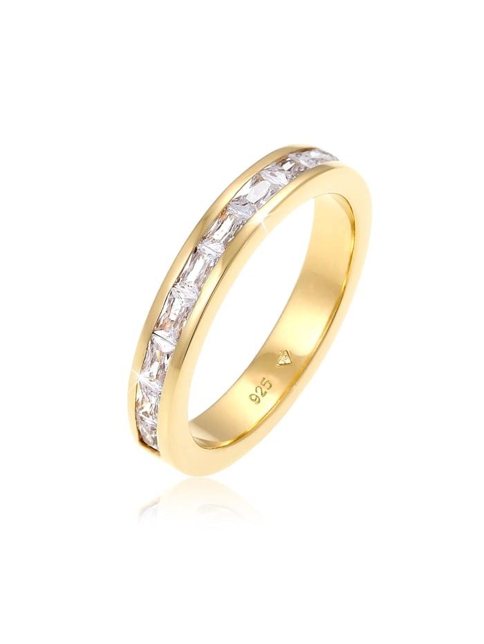Elli Ring Bandring Baguette Zirkonia Kristalle 925 Silber, Gold