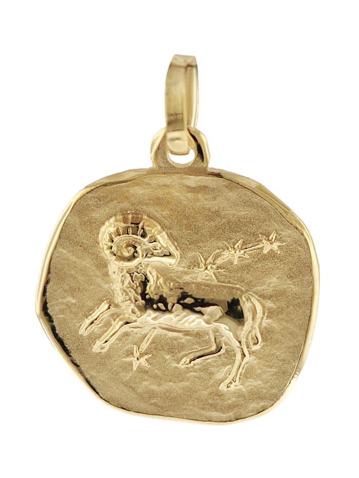 trendor Sternzeichen-Anhänger Widder 585 Gold 16 mm, Goldfarben