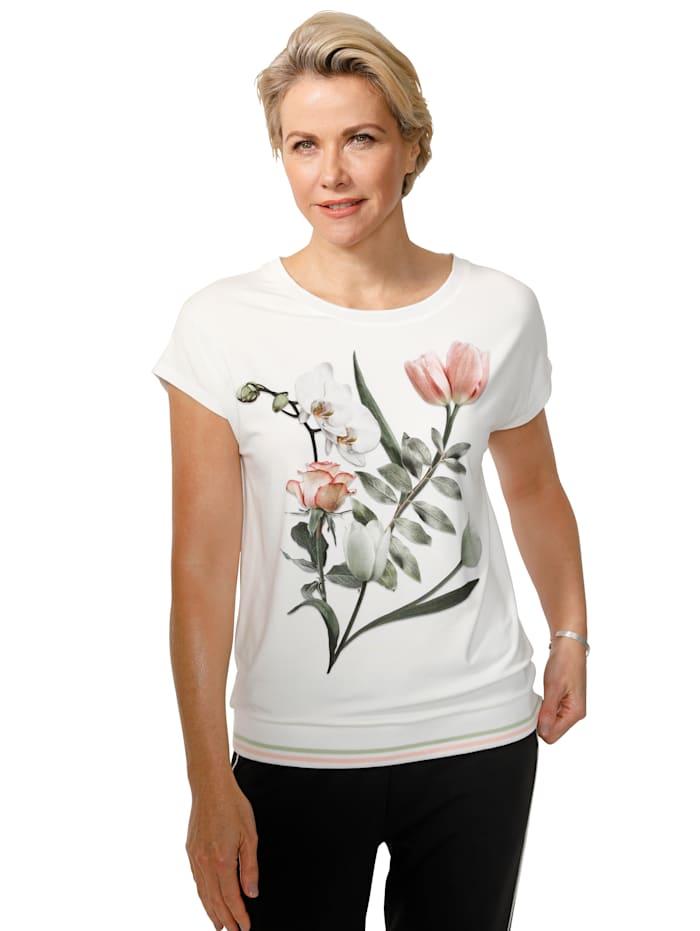 MONA Shirt mit Blumen-Motiv, Ecru/Rosé/Dunkelgrün