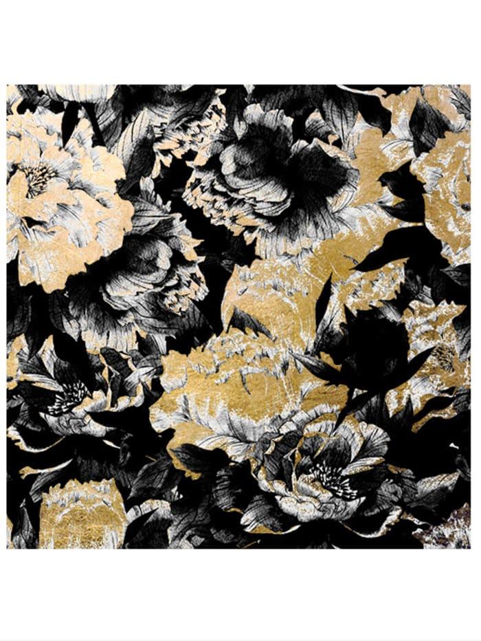 IMPRESSIONEN living Acrylbild, Floral, Schwarz/Goldfarben
