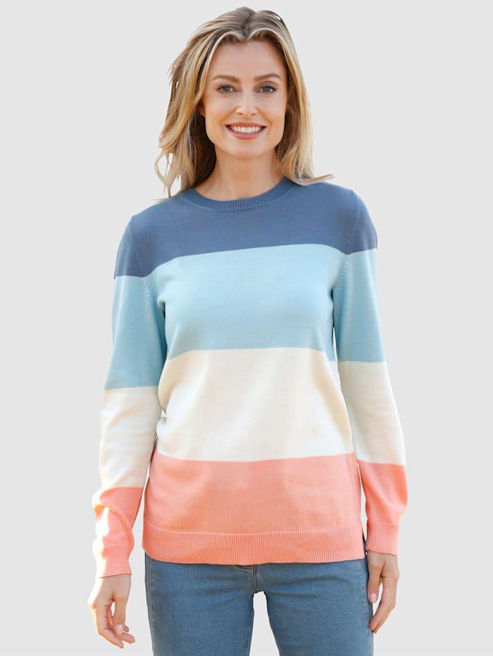 basically you Pullover mit Streifen Muster, Hellblau