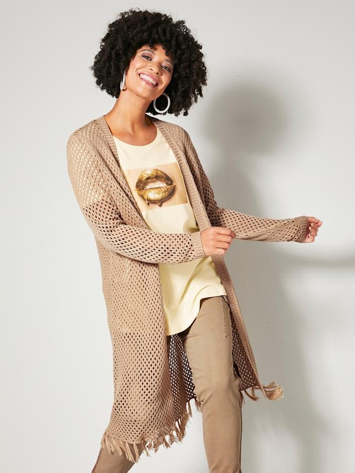 Angel of Style Lang strikkejakke med frynser i falden, Sand
