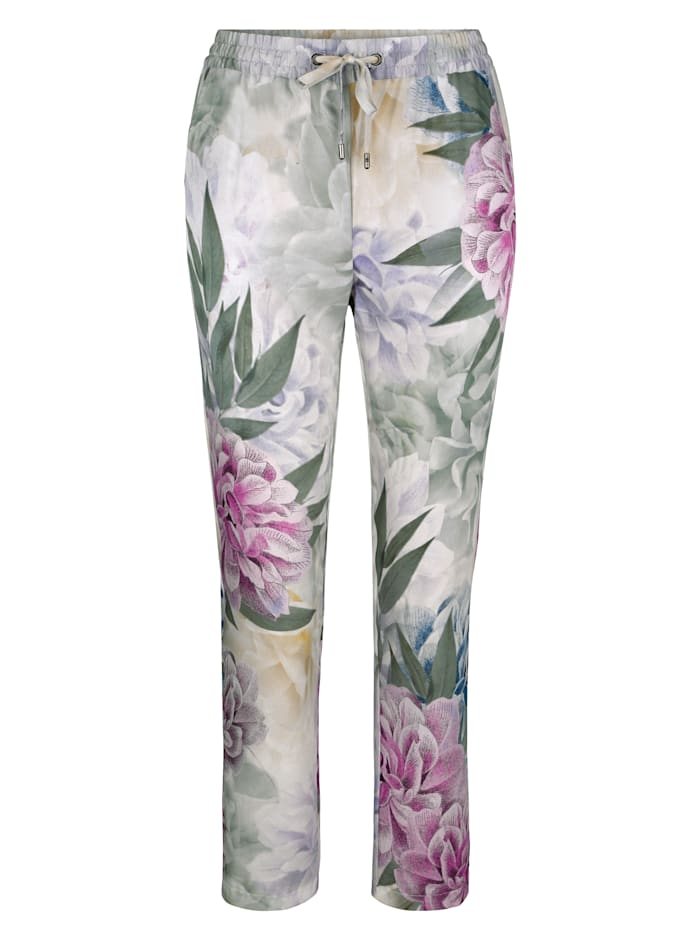 Pull-on trousers with floral print