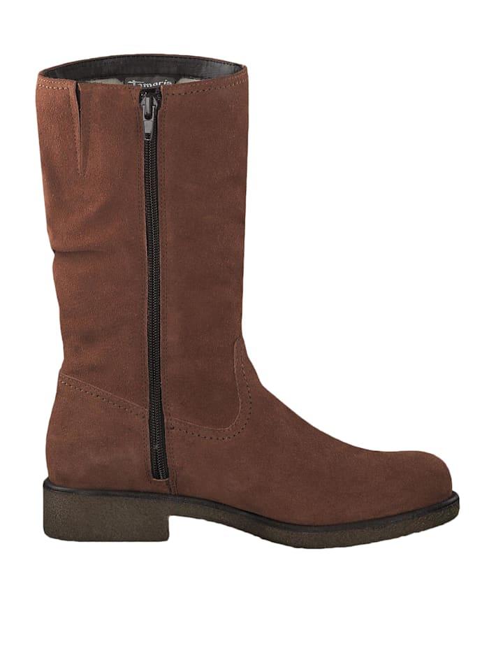 1-26484-23 444 Damen Stiefel Leder Rust Braun mit Innenfutter aus Wolle