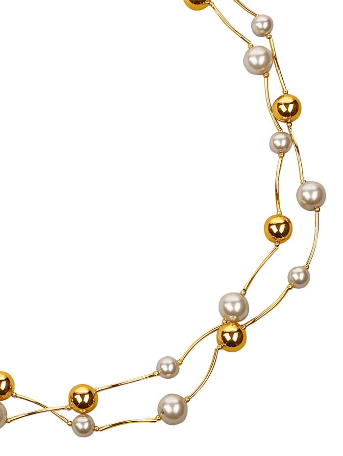 KLiNGEL Halskette mit Perlen, Weiß
