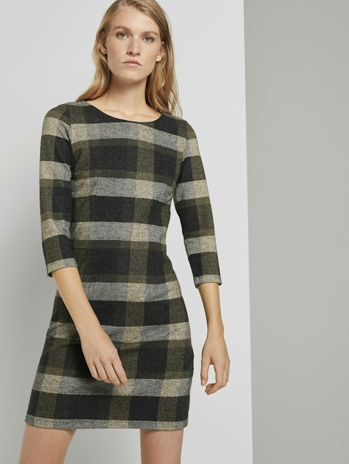 Tom Tailor Gemustertes Jerseykleid, black yellow check knitted