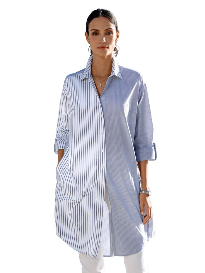 AMY VERMONT Lange blouse met streepdessin, Blauw/Wit