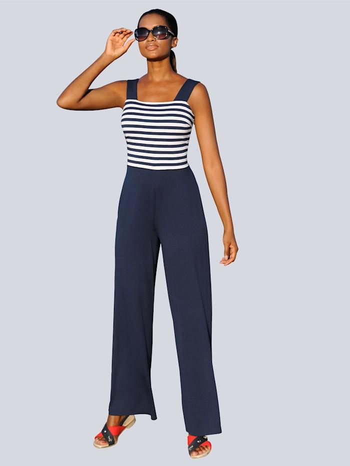 Alba Moda Jumpsuit met gestreepte body, marine/wit