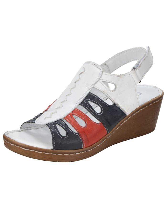 Gemini Wedge sandals in complementary colours, White/Navy/Red