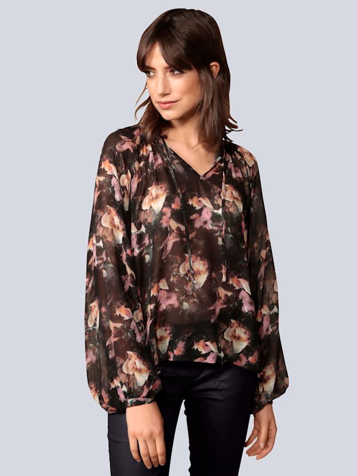 Princess GOES HOLLYWOOD Bluse mit stilisiertem Blumendruck, Schwarz