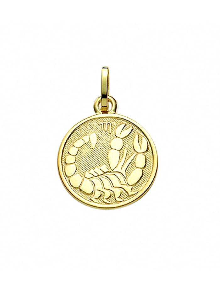 1001 Diamonds Damen & Herren Goldschmuck 333 Gold Sternzeichen Anhänger Skorpion Ø 11,8 mm, gold