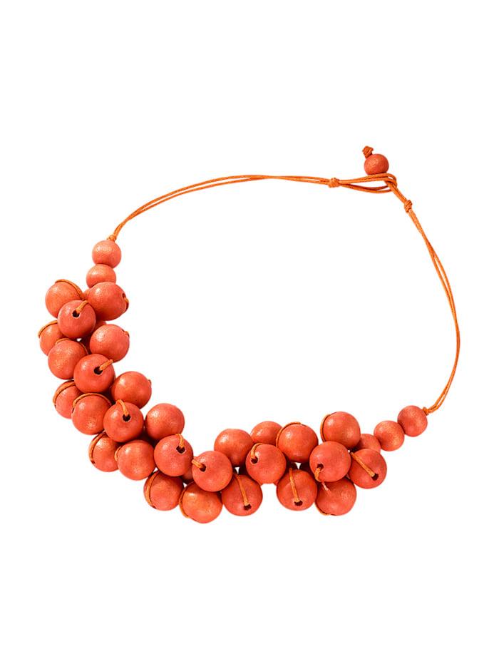Náhrdelník s dŕevenými kuličkami, Oranžová