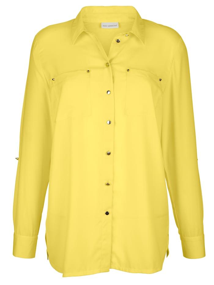 AMY VERMONT Bluse mit Rückteil aus Jersey, Gelb