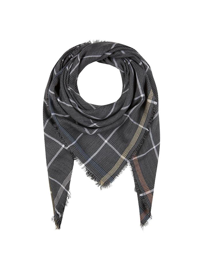 Codello Premium Karo-Tuch aus feinster Wolle, dark grey
