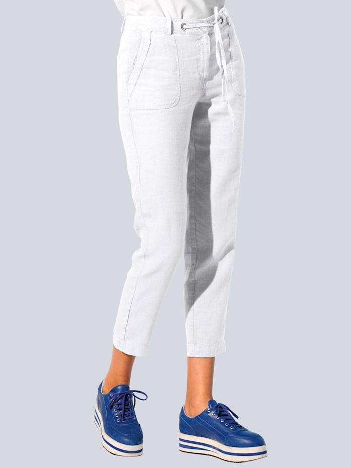 Alba Moda Hose in hochwertiger, reiner Leinenqualität, Weiß