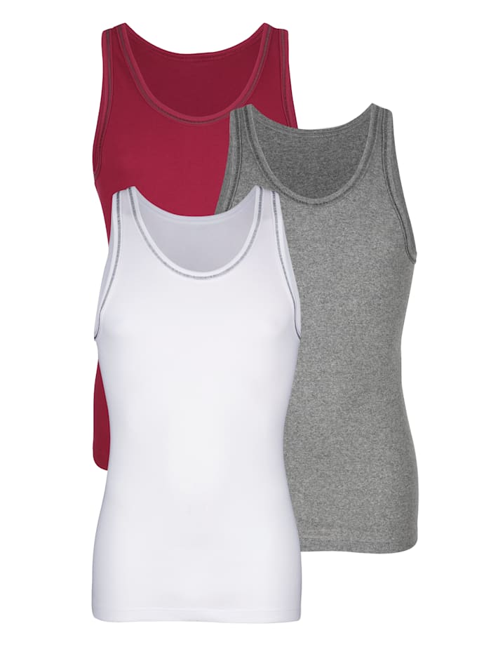 Achselhemden im 3er-Pack mit kontrastfarbener Flatlock-Naht, Bordeaux/Weiß/Grau
