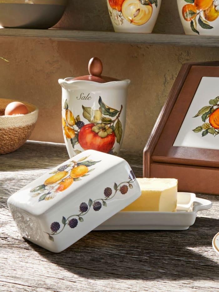 Nuova Ceramica Artisan Nostalgische 2tlg. Butterdose 'Pomi D'Oriente', Multicolor