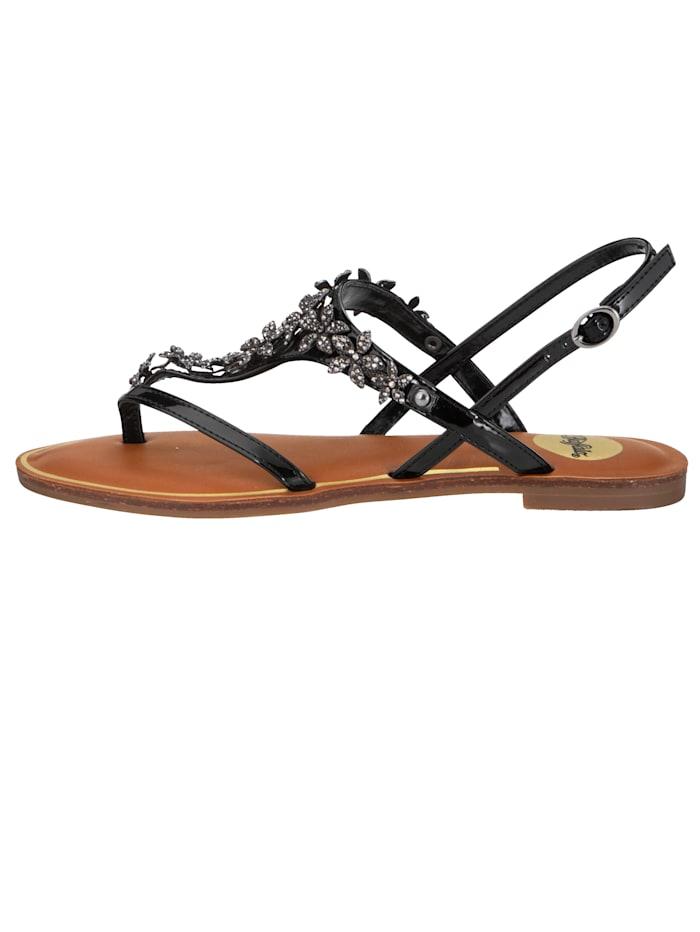 Buffalo Sandale mit Zehensteg, Schwarz