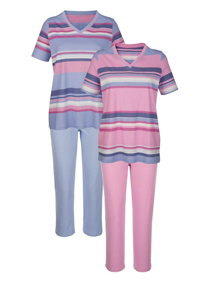 Harmony Pyžama, 2ks s nadčasovým prúžkovaným vzorom, Ružové drevo/Modrá
