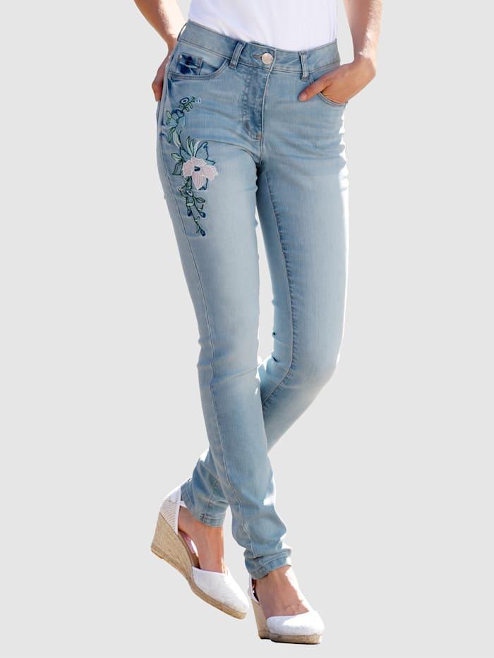 Laura Kent Jeans met bloemenborduursel, Blue bleached