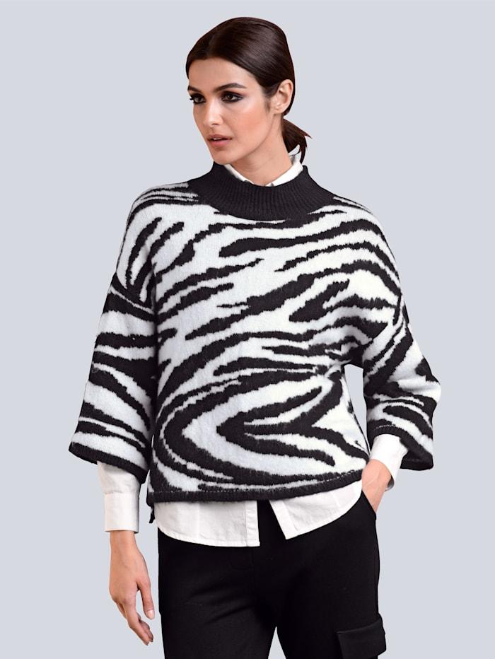 Alba Moda Pullover allover im neu designten Zebramuster, Schwarz/Off-white