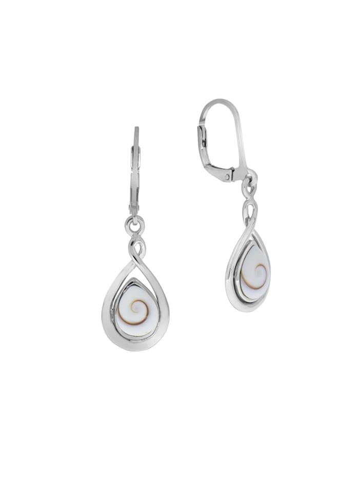ZEEme Ohrhänger 925/- Sterling Silber Muschel weiß 3,7cm Glänzend, weiß