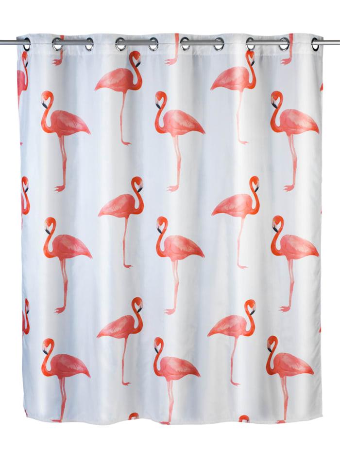Wenko Anti-Schimmel Duschvorhang Flamingo Flex, Textil (Polyester), 180 x 200 cm, waschbar, Mehrfarbig