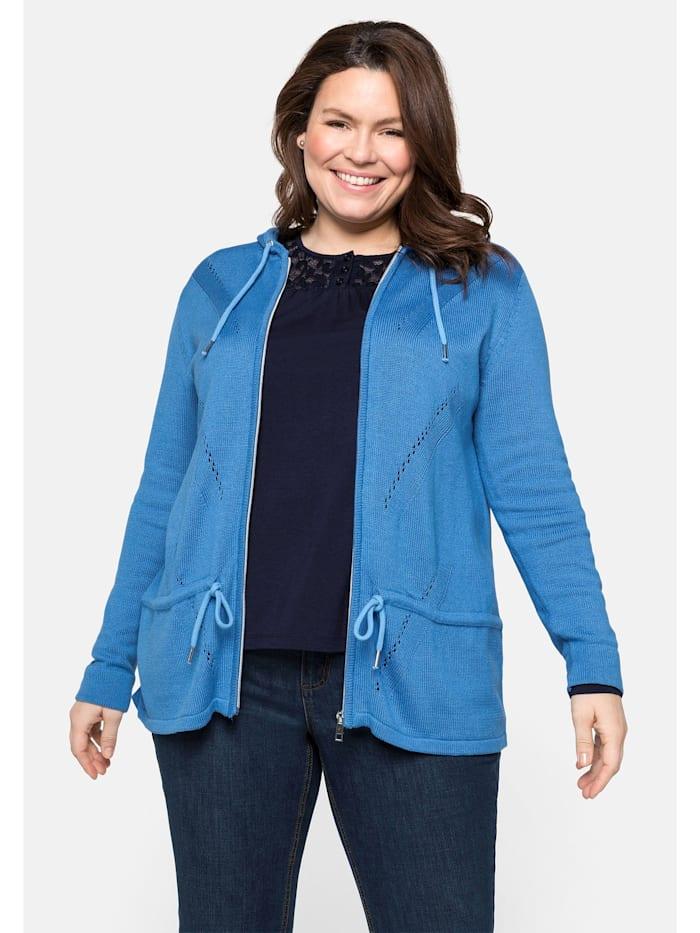 Sheego Strickjacke aus nachhaltiger Baumwollmischung, jeansblau