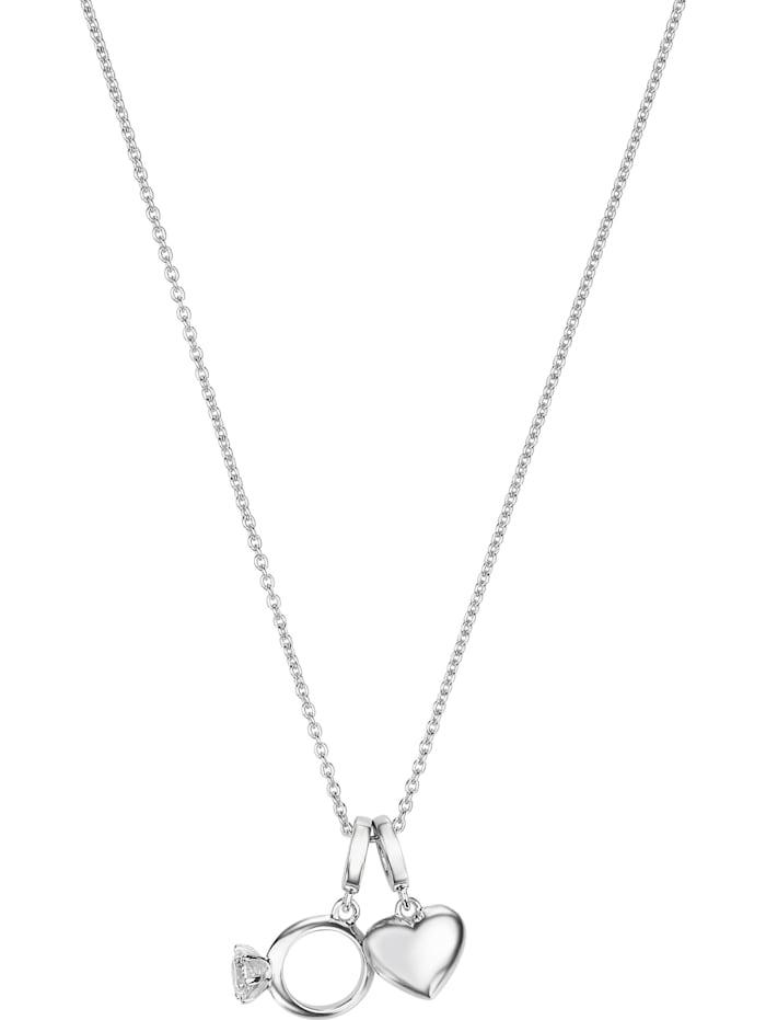 Jette JETTE Damen-Kette 925er Silber 1 Zirkonia, silber