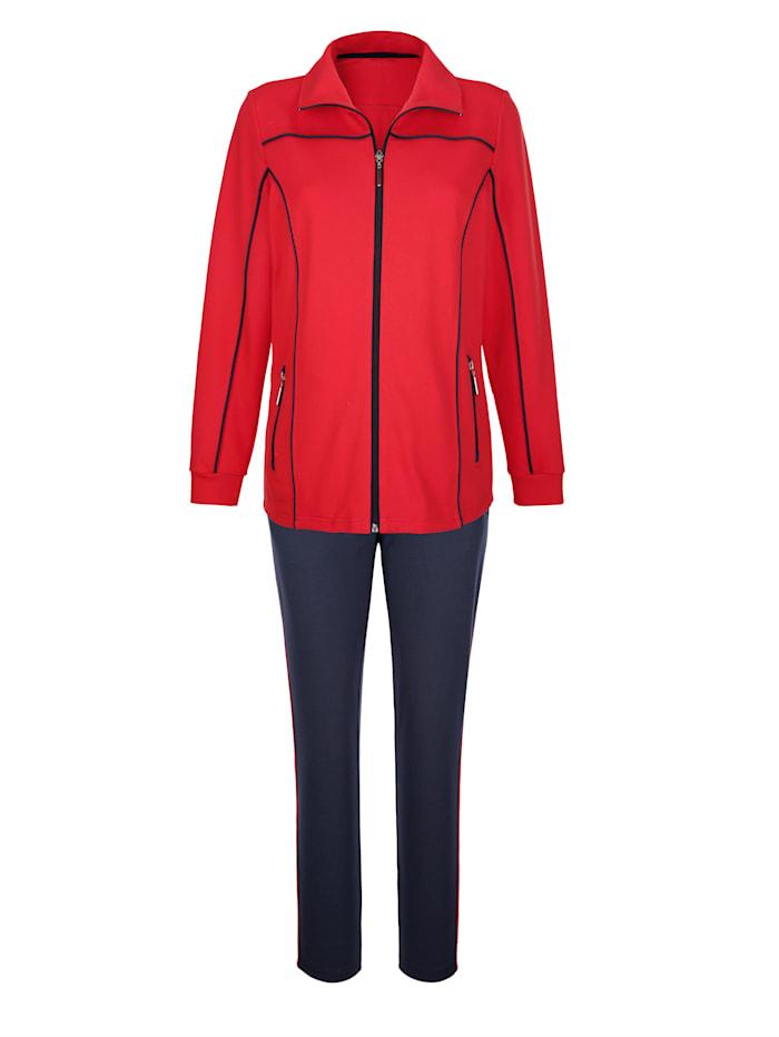 Harmony Freizeitanzug mit nützlichen Reißverschlusstaschen, Rot/Marineblau