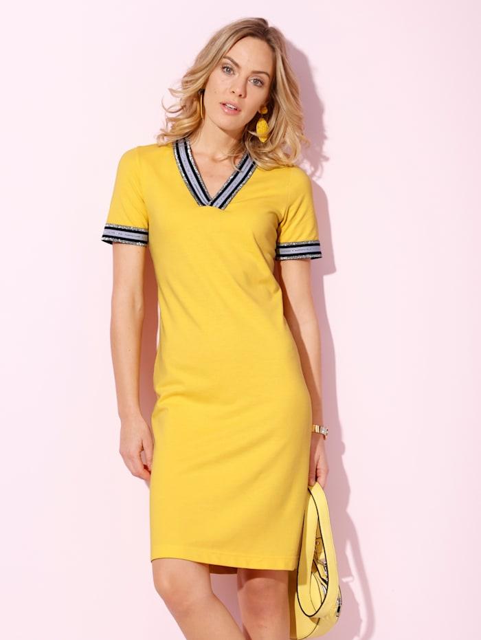 AMY VERMONT Kleid aus Pikee-Baumwolle, Gelb