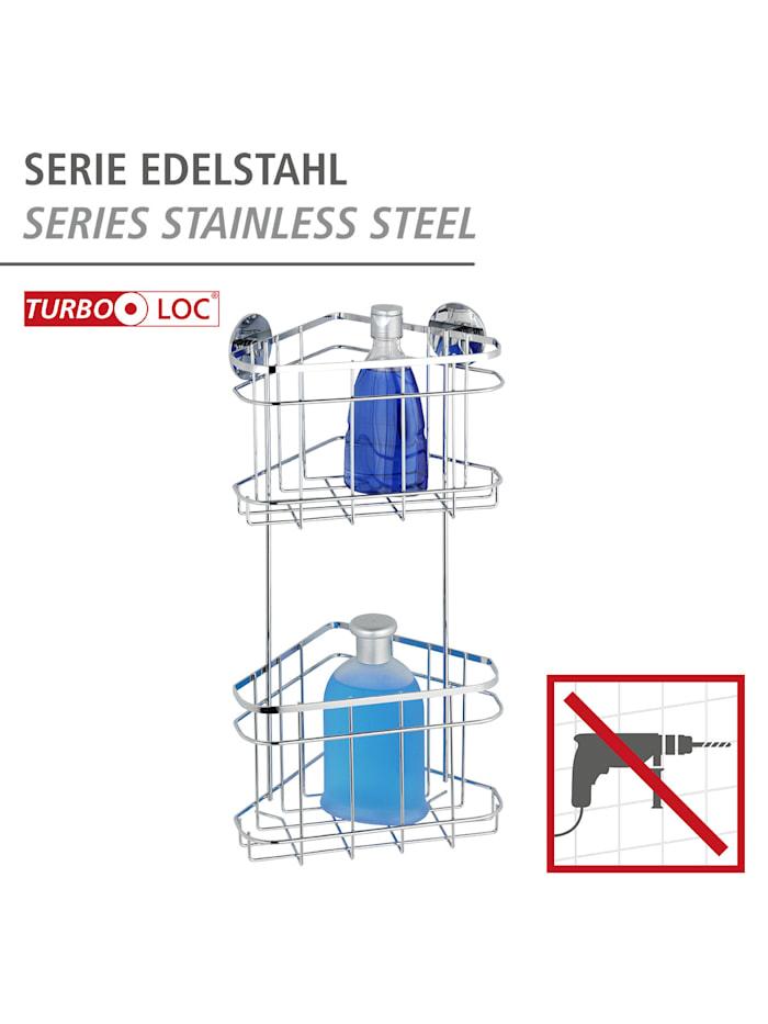 Turbo-Loc® Edelstahl Eckregal 2 Etagen, rostfrei, Befestigen ohne bohren