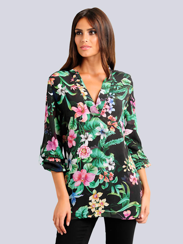 Bluse mit exklusivem Blumenprint