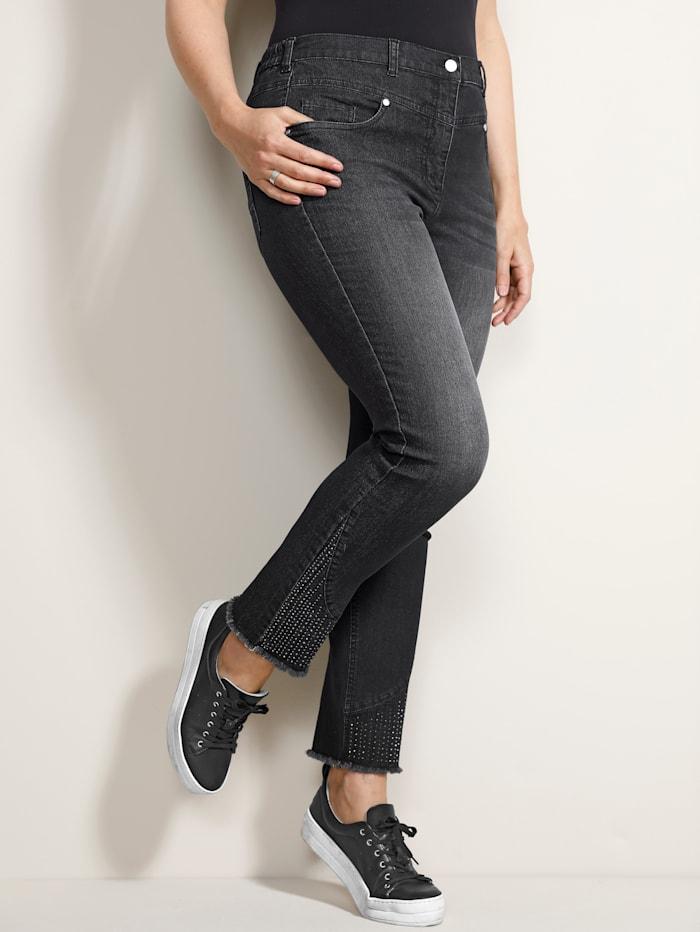 MIAMODA Jeans met versiering op de pijpen, Grey