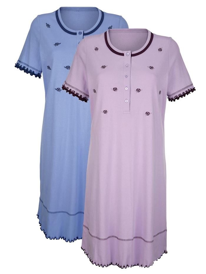 Blue Moon Nachthemden met romantische, geschulpte zoom, Lila/Lavendel