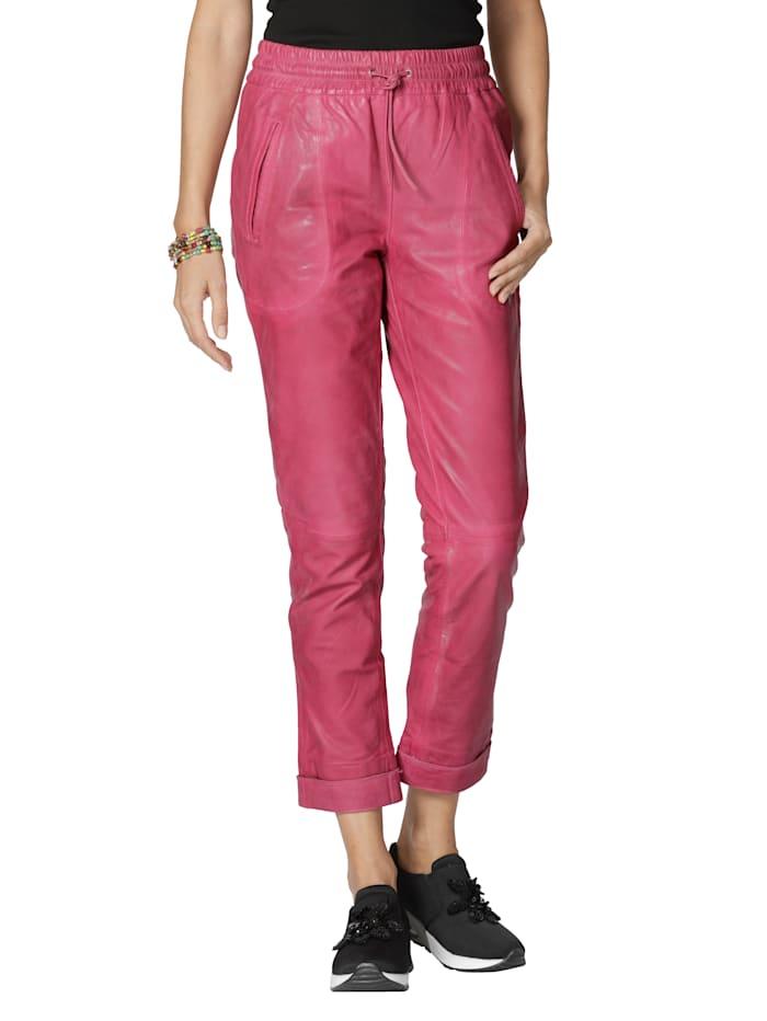 AMY VERMONT Leren broek met elastische band, Pink