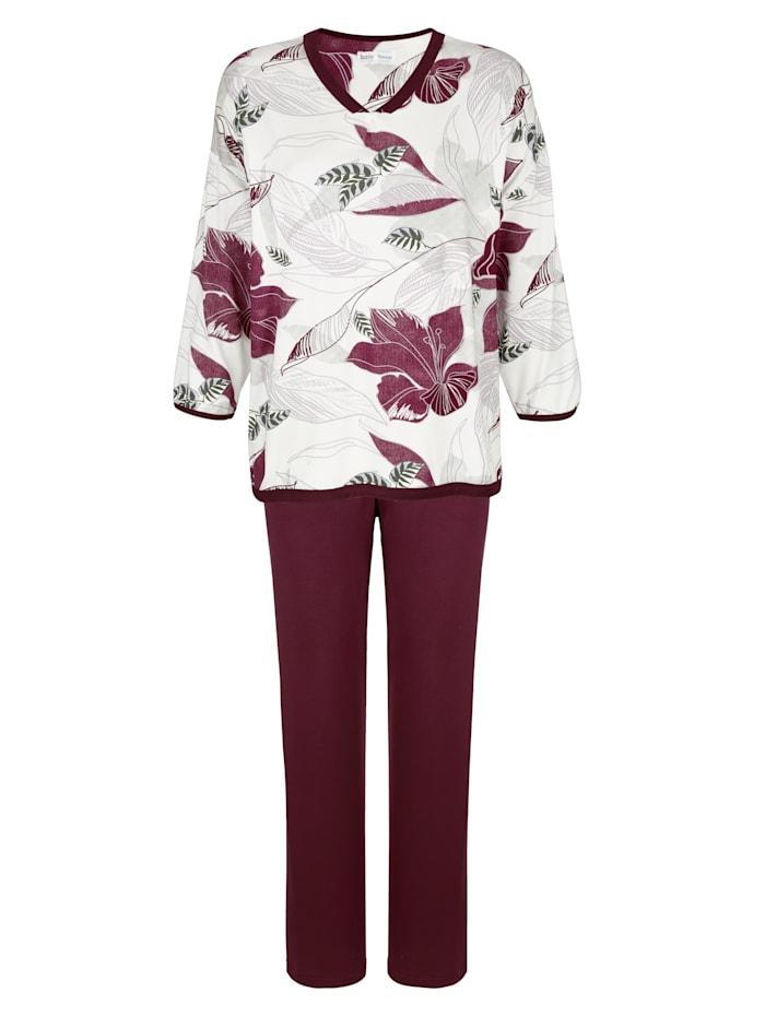 MONA Pyjamas med vackert blommönster, Bordeaux/Benvit/Grå