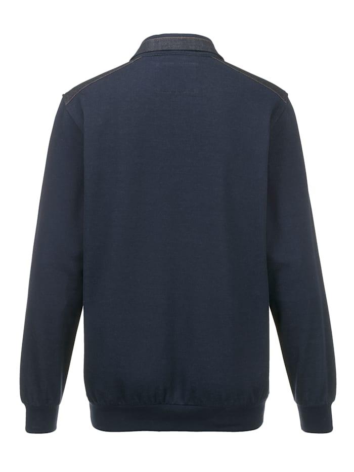 Sweatshirt mit Denim-Besätzen