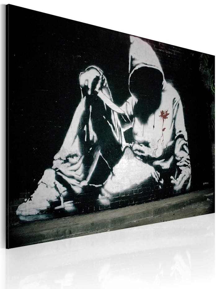 artgeist Wandbild Inkognito Killer (Banksy), Schwarz,Grau,Weiß