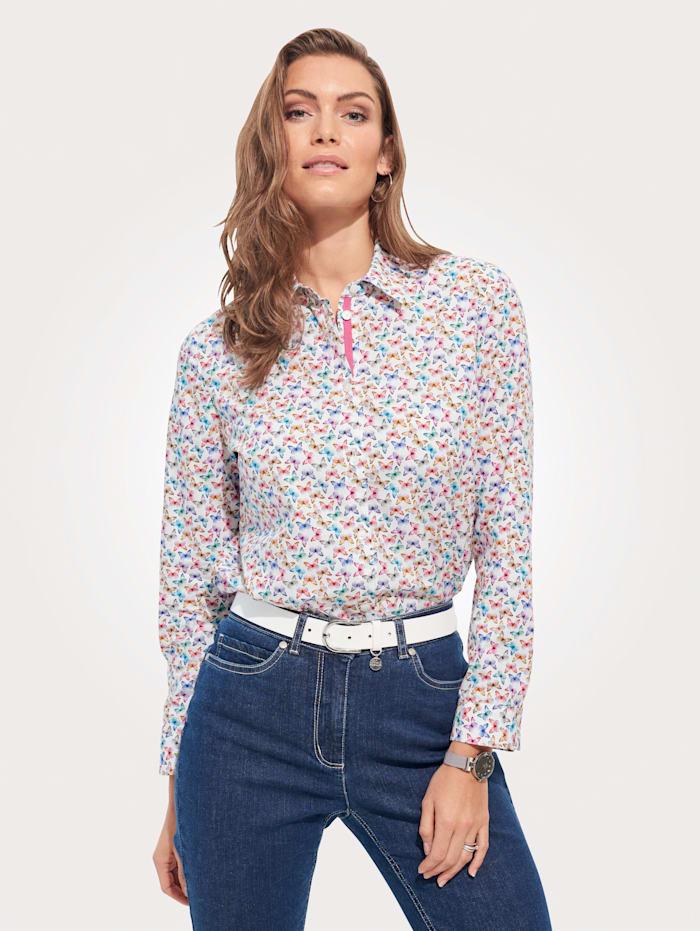 MONA Bluse aus reiner Baumwolle, Weiß/Pink/Blau