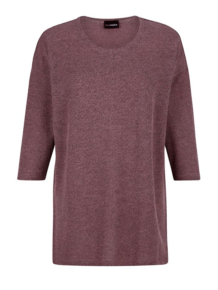 MIAMODA T-shirt en maille fine en maille chinée, Rose