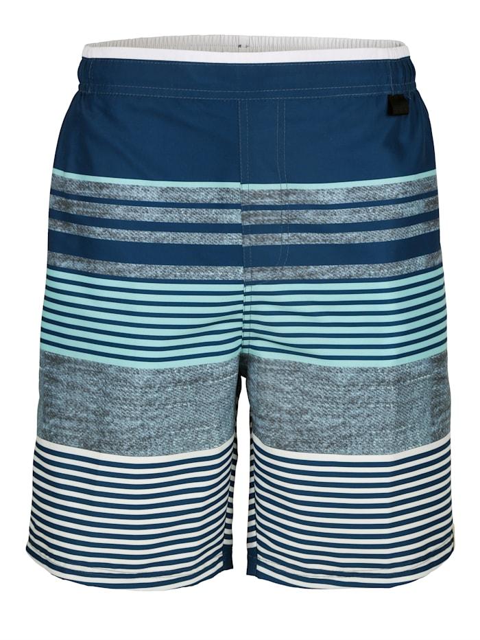 Wavebreaker Zwemshort met trendy strepen, Blauw/Lichtblauw/Wit