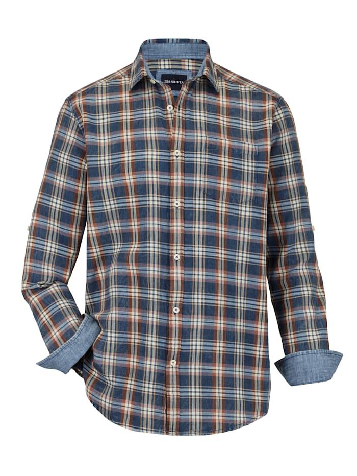 BABISTA Overhemd met omslagmouwen, Blauw/Bruin