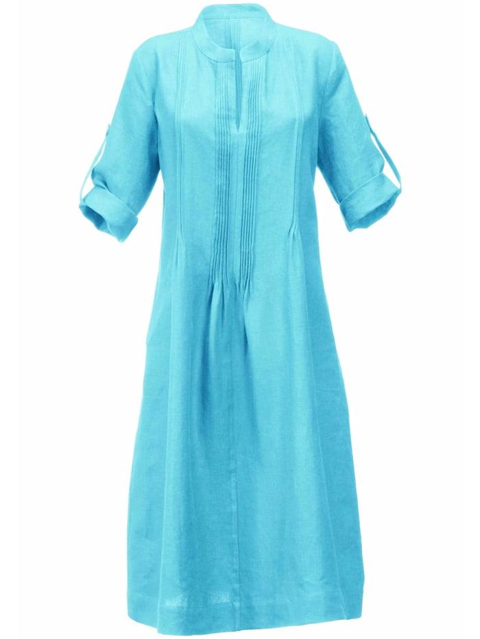 Anna Aura Abendkleid Kleid aus 100% Leinen mit Stehkragen, türkis