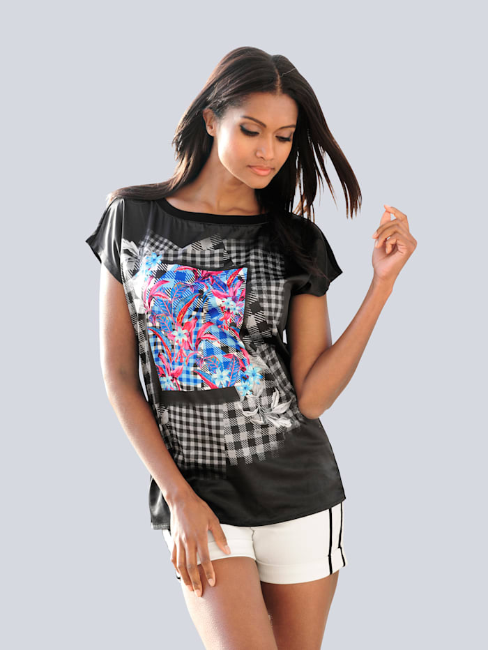 Alba Moda Shirt im Materialmix, Schwarz