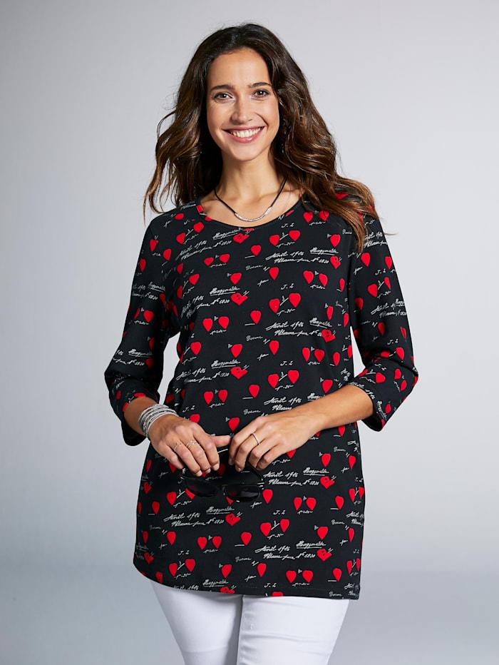 MIAMODA Shirt met hartjesmotief en opschrift, Zwart/Rood/Wit