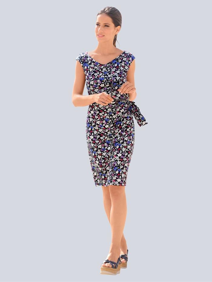 Alba Moda Strandkleid mit zartem Blütendessin, Marineblau