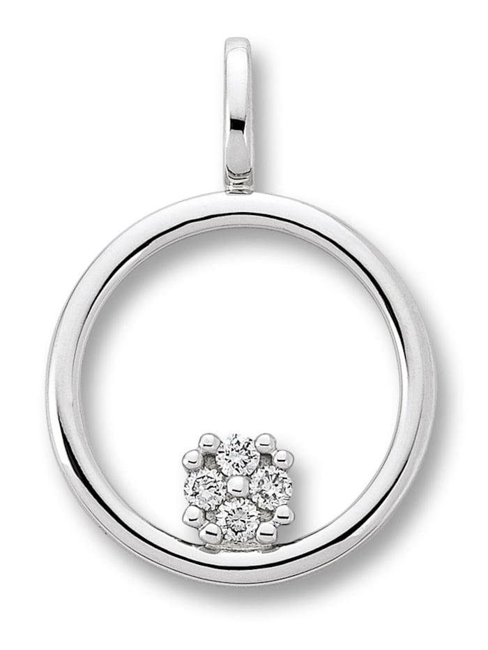 One Element Damen Schmuck Anhänger aus 585 Weißgold mit 0,04 ct Diamant, silber
